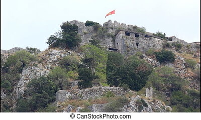 Montenegrin flag, fort - Montenegrin flag on the top of the...