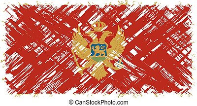 Montenegrin grunge flag. Vector illustration. Grunge effect...