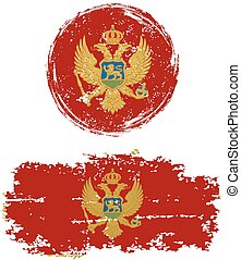 Montenegrin round and square grunge flags. Vector...