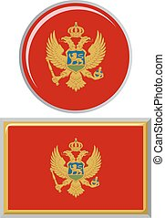 Montenegrin round and square icon flag. Vector illustration....