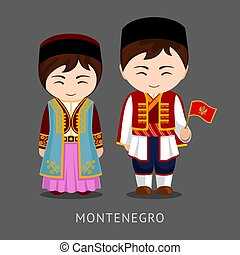 Montenegrins in national dress with a flag.