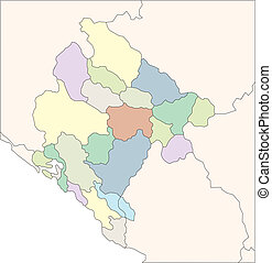 Montenegro, Administrative Districts, Capitals and Surrounding Countries