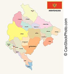 montenegro administrative map with flag - montenegro...