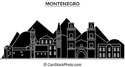 Montenegro architecture vector city skyline, travel...