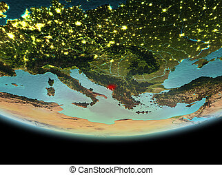 Montenegro at night on Earth - Montenegro from orbit of...