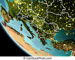 Montenegro at night on Earth - Montenegro from orbit of...
