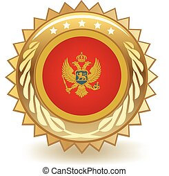 Montenegro Badge - Gold badge with the flag of Montenegro.