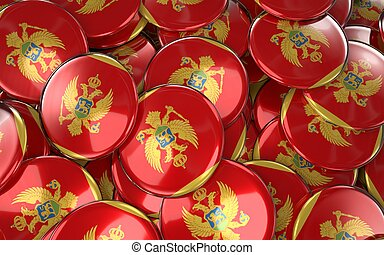 Montenegro Badges Background - Pile of Montenegrin Flag...