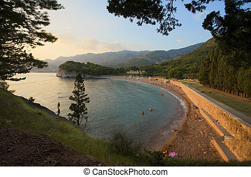 Beach of Milocer, Montenegro seaside during summer season.