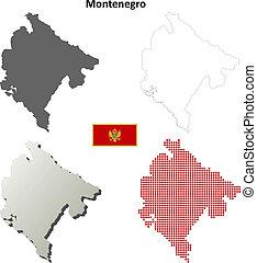 Montenegro blank outline map set
