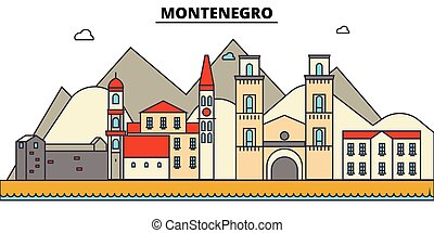 Montenegro, . City skyline architecture, buildings, streets, silhouette, landscape, panorama, landmarks. Editable strokes. Flat design line vector illustration concept. Isolated icons set