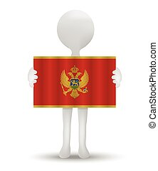 Montenegro - small 3d man holding a flag of Montenegro