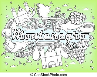 Montenegro coloring book vector illustration
