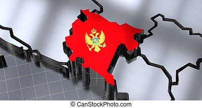 Montenegro - country borders and flag - 3D illustration