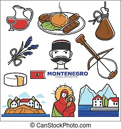 Montenegro culture and landmarks vector icons - Montenegro...