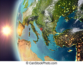Montenegro during sunset from space - Montenegro as seen...