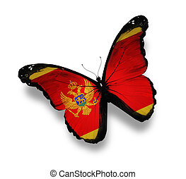 Montenegro flag butterfly, isolated on white