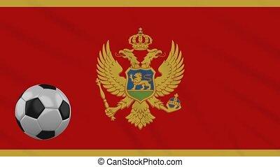 Montenegro flag waving and football rotates, loop -...