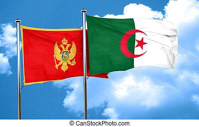 Montenegro flag with Algeria flag, 3D rendering