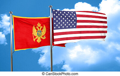 Montenegro flag with American flag, 3D rendering