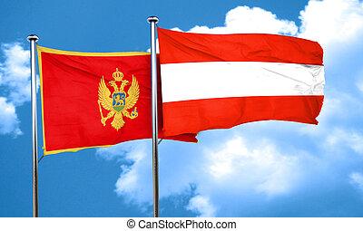 Montenegro flag with Austria flag, 3D rendering