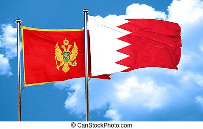 Montenegro flag with Bahrain flag, 3D rendering