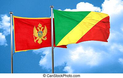 Montenegro flag with congo flag, 3D rendering