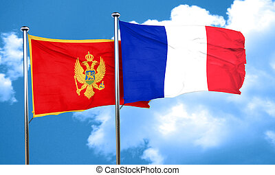 Montenegro flag with France flag, 3D rendering