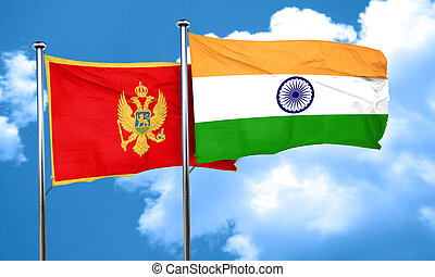 Montenegro flag with India flag, 3D rendering