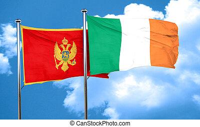 Montenegro flag with Ireland flag, 3D rendering