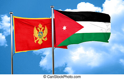 Montenegro flag with Jordan flag, 3D rendering
