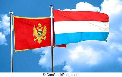Montenegro flag with Luxembourg flag, 3D rendering