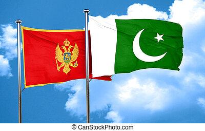Montenegro flag with Pakistan flag, 3D rendering
