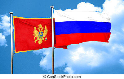 Montenegro flag with Russia flag, 3D rendering