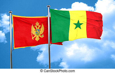 Montenegro flag with Senegal flag, 3D rendering