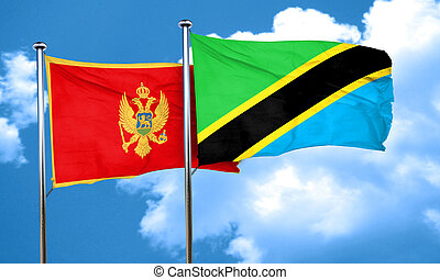 Montenegro flag with Tanzania flag, 3D rendering