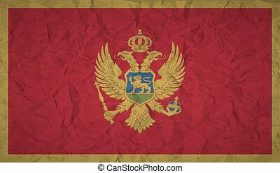 Montenegro flag with the effect of crumpled paper and grunge