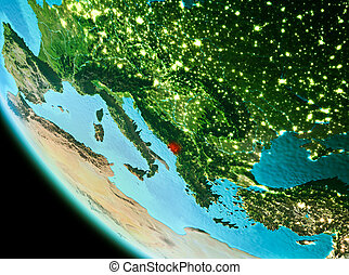 Montenegro in red in the evening - Country of Montenegro in...