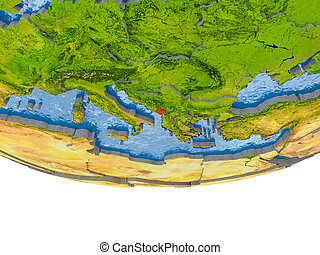Montenegro in red on Earth model - Montenegro on 3D model of...