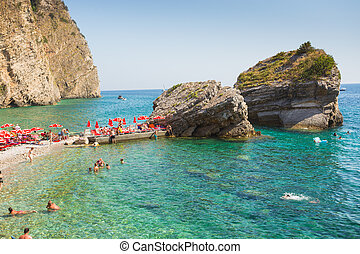 Beach on the island of St. Nicholas near the town of Budva. Europe. Montenegro
