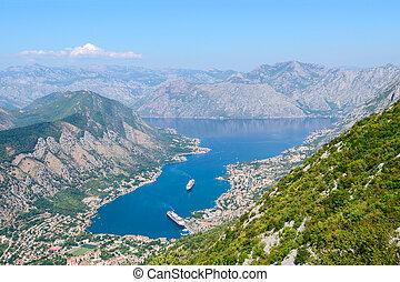 Montenegro,  kotor, vik, Panorama, ovanför, synhåll