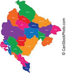 Montenegro map - Administrative division of Montenegro