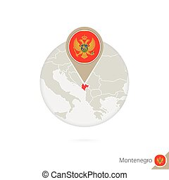 Montenegro map and flag in circle. Map of Montenegro,...