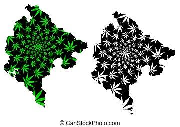 Montenegro - map is designed cannabis leaf