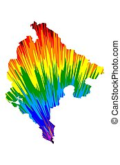 Montenegro - map is designed rainbow abstract colorful pattern