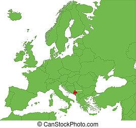 Montenegro map - Location of Montenegro on the Europe...