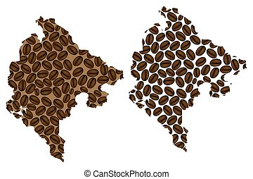 Montenegro map - Montenegro - map of coffee bean, Montenegro...