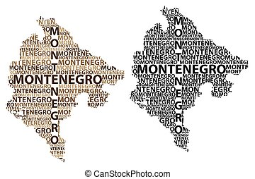 Montenegro map - Sketch Montenegro letter text map,...