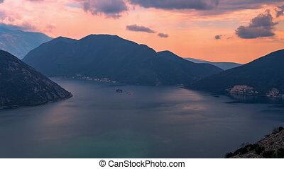 montenegro, nuages, montagnes, baie, kotor, boka, fait, coucher soleil, adriatique, mouvement, mer, sur, timelapse