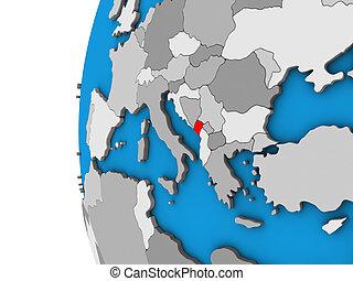 Montenegro on 3D globe